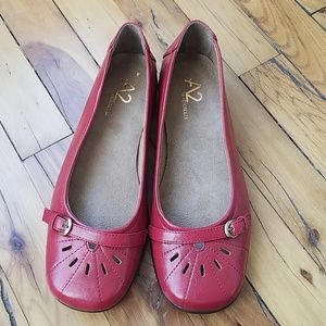 NWOB A2 Red Buckle Flats